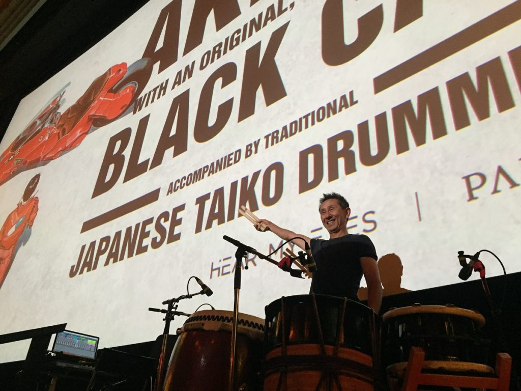 Toshi Sakamoto on stage at the Astor Theatre, for the screening of AKIRA. Live original score by Black Cab. Photo: Catherine Strong